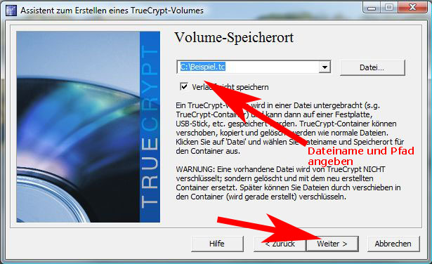 TrueCrypt-Speicherort